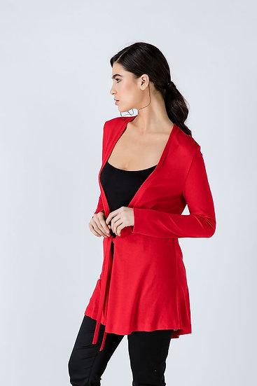 Women's Red Open Front Linen Cardigan