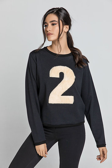 Black Appliqué Sweatshirt