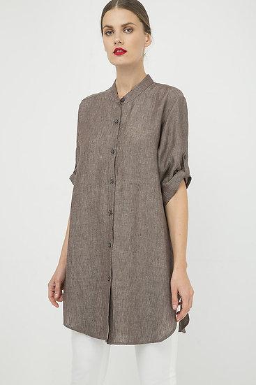 Women's Long Woven Linen Shirt With 3/4 Sleeves
