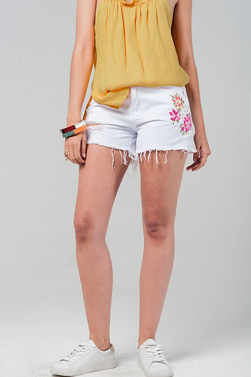 Womens White Denim Shorts With Embroidered Flowers