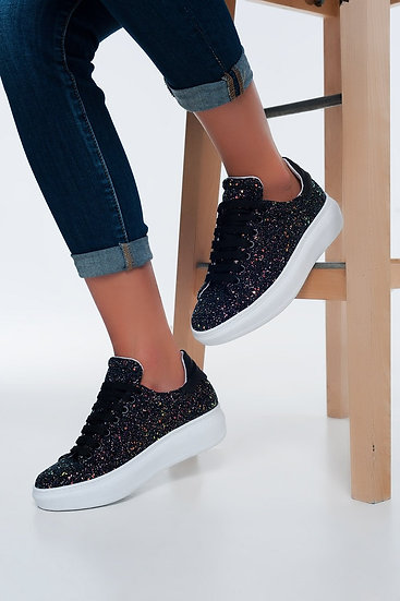 Womens Chunky Lace Up Sneakers in Black Glitter