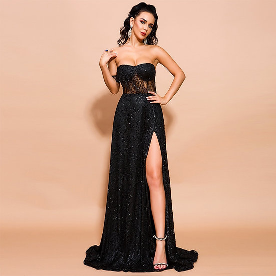 Women's Elegant Black High Slit Evening Cocktail Gown