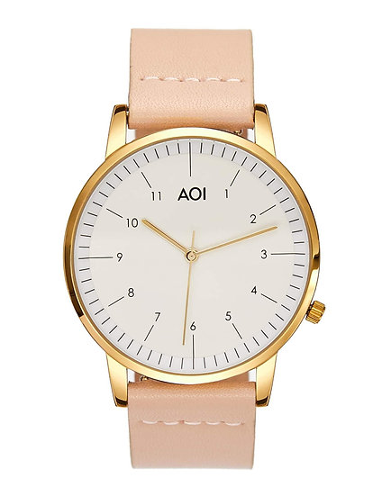 Womens KOBE | 3.4 Watch in Gold Leather Strap Japanese Quartz