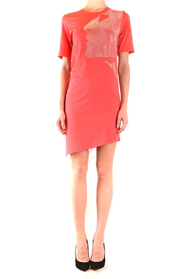 Women's Asymmetrical hem line Open Back Dress in Coral by Jijil