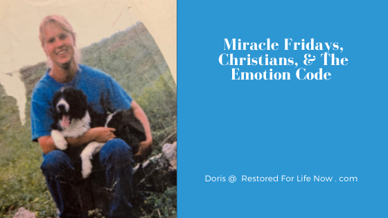 Krista on Friday with her dog before her miracle and using The Emotion Code Restored For Life Now sitting on a rock