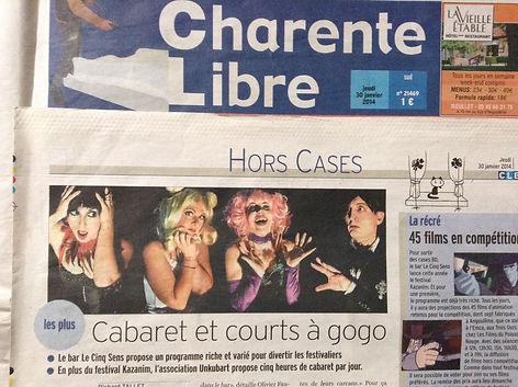 Sacha dans un article du journal Charente Libre
