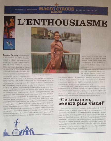 Article sur Sacha Metteur en Scène du Magic Circus Show 2012
