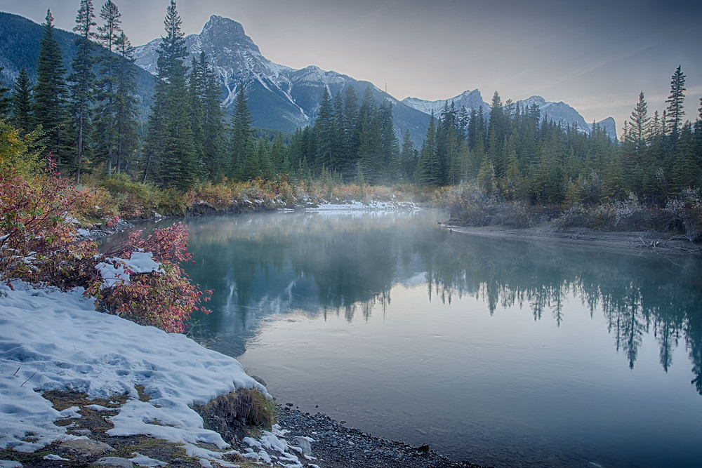 Bow River at dusk, Alberta, Canada