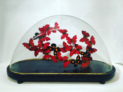 Dôme vintage oval rouge