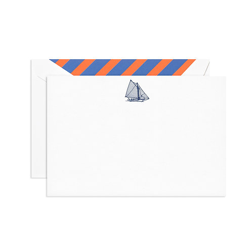 Engraved Sailboat Correspondence Card