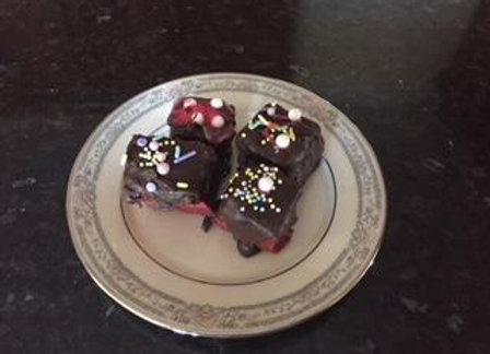 Red Velvet Fudge dipped in Chocolate