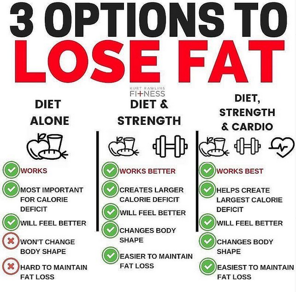 This image shows the 3 best appraoches to losing fat. You can either use diet alone, diet & strength or diet, strength and cardio.