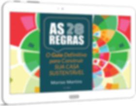 Imagem do e-book AS 28 REGRAS visualizado no tablet branco.