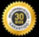 Imagem do selo de garantia de 30 dias para devolução do dinheiro, em caso de insatisfação do cliente com o produto adquirido.
