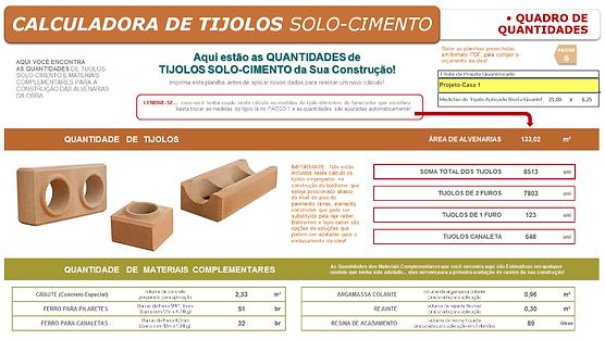 Imagem da última página da planilha calculadora de tijolos solo-cimento, que apresenta o quadro de quantidades de tijolos e seus insumos, resultante dos cálculos automáticos.