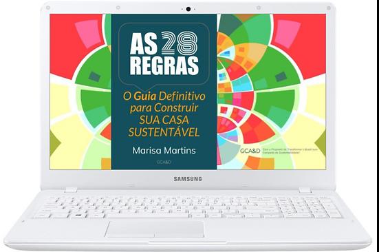 Imagem do e-book AS 28 REGRAS visualizado no notebook branco.