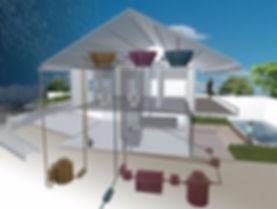 Desenho que apresenta a composição das redes de água de uma casa sustentável: água da chuva, água de reúso e água da rede pública.