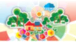 Imagem com composição gráfica de papel, contendo casa com painel solar no telhado, sol, nuvem, árvores e flores, sobre fundo também colorido, numa representação do sonho da casa sustentável.