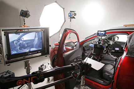 Studio filming for a car promo