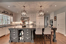 Neutral colors and a large kitchen islan