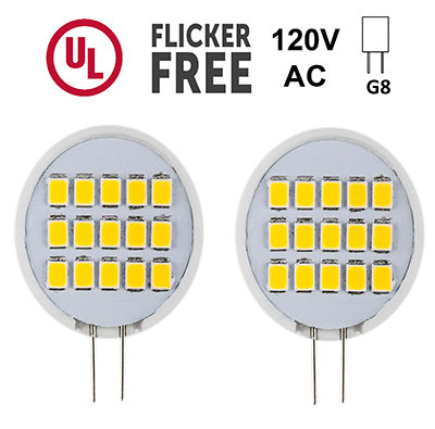 120v G8 LED SIDE PIN 1.6W, Puck Light Bulb