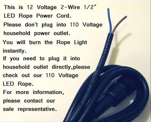 """Power Cord for 12v 1/2"""" Rope Light"""