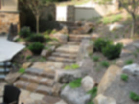 seperation of the stone terrace from the