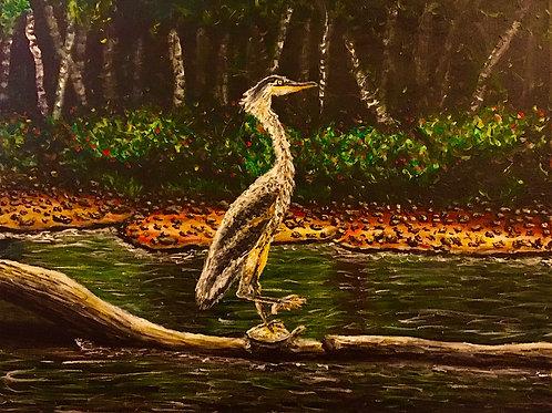 Hitchhiking Heron, Original Painting