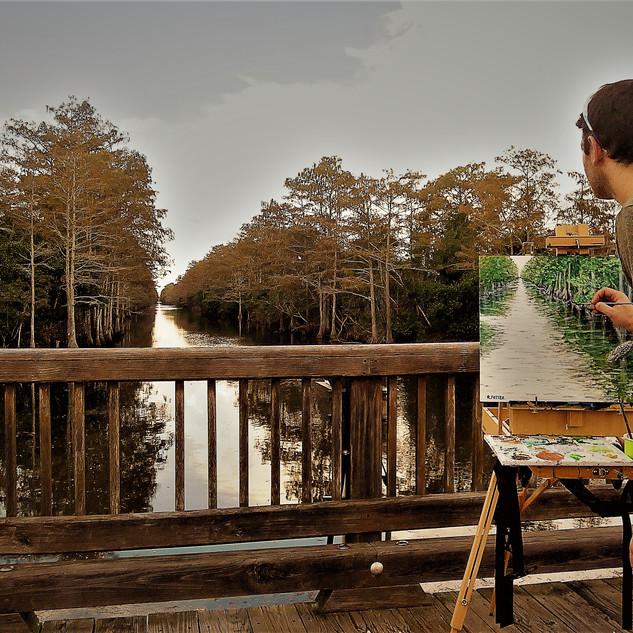 Painting on bridge.