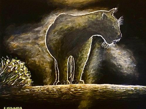 Leopard In The Dark, Original Painting
