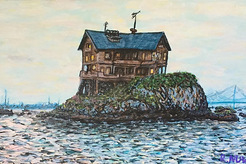 SOLD. House On The Sea, Original Painting