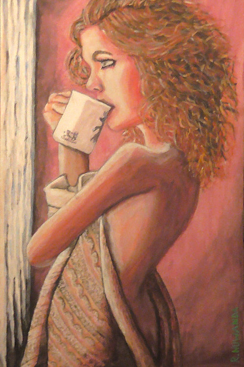 Coffee At The Window, Original Painting