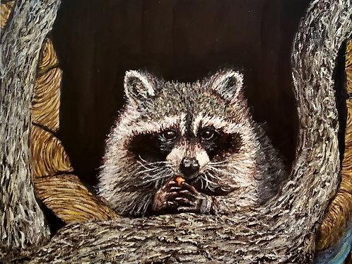 Raccoon Eating Fruit, Original Painting