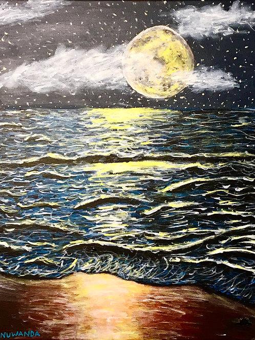 Moon From The Beach, Original Artwork