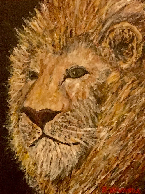Posing Lion, Original Painting