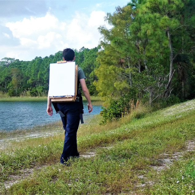 Easel backpack on the trail.