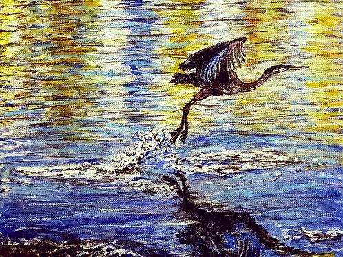 Heron Taking Off, Original Painting