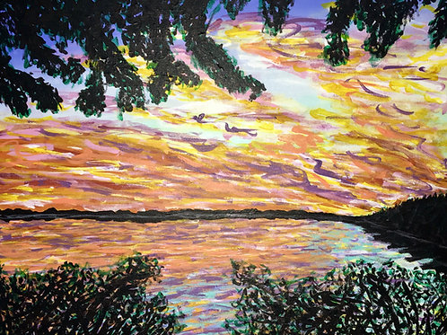 Lake From The Woods, Original Painting