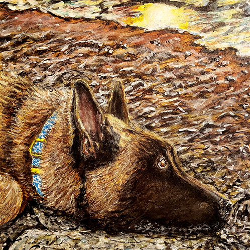 Malinois Watching Waves, Original Painting