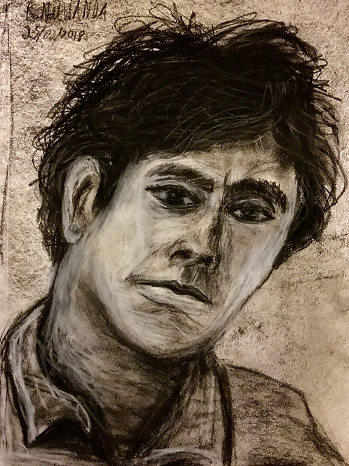Modigliani's Disbelief, Charcoal On Paper