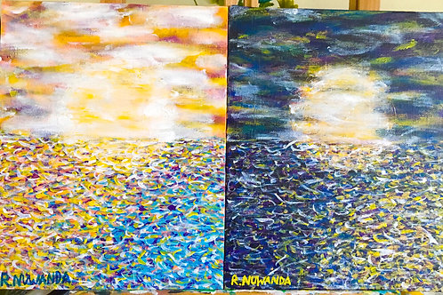 Sun And Moon In The Water, Original Painting Pair