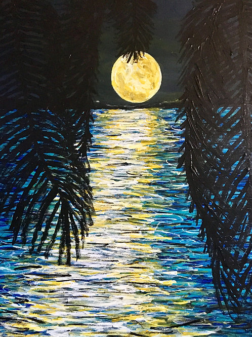 Virtual Painting Class For Moon Across The Water