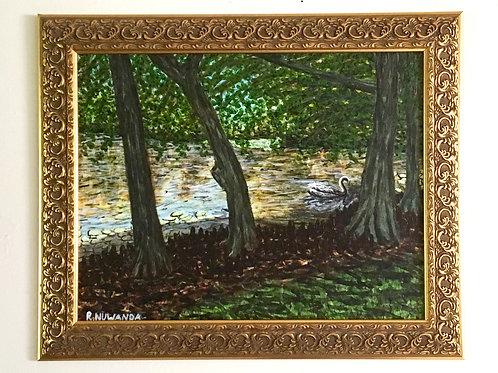 Swannie's Pond, Original Painting Framed