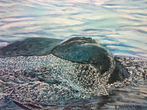 Sperm Whale Dive, Original Painting