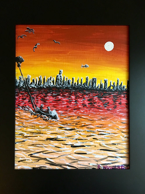 City From The Sea, Original Framed Painting