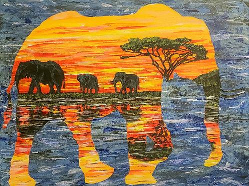 Elephants In Elephant, Original Painting