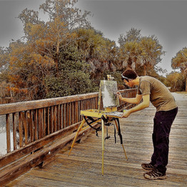 Painting on location.