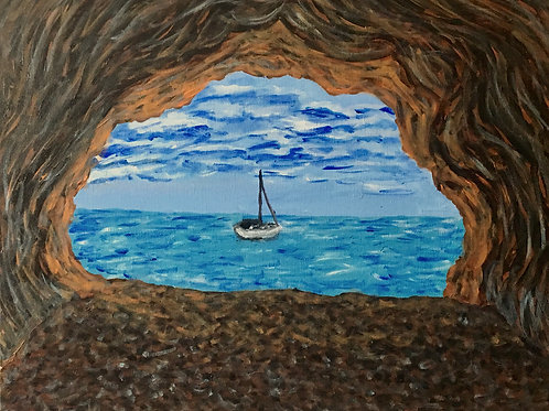 Boat From A Cave, Original Painting