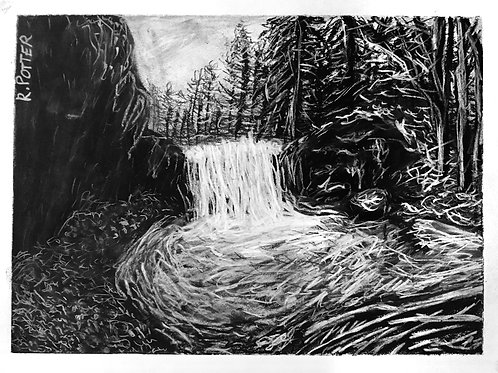 Winter Waterfall, Charcoal Original