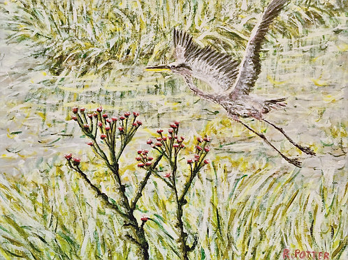 Heron In Flight, Original Painting